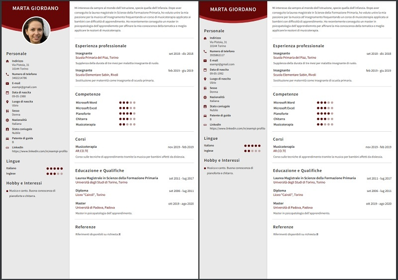 CV template met of zonder foto te gebruiken